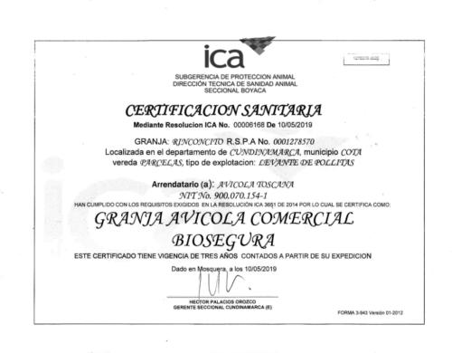 Cota Certificado granja biosegura Mayo 10 de 2019